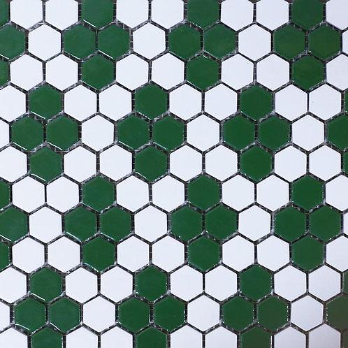 Pastilha Sextavada 2,5x2,5 Branca com Módulo Paulista Verde