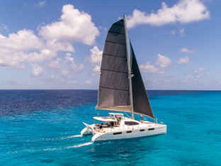 Leopard 46 Black Calvert Sails Bahamas Sailing Catamaran Charters