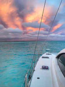 Amazing pink sunset Sailing Bahamas Catamaran Charters