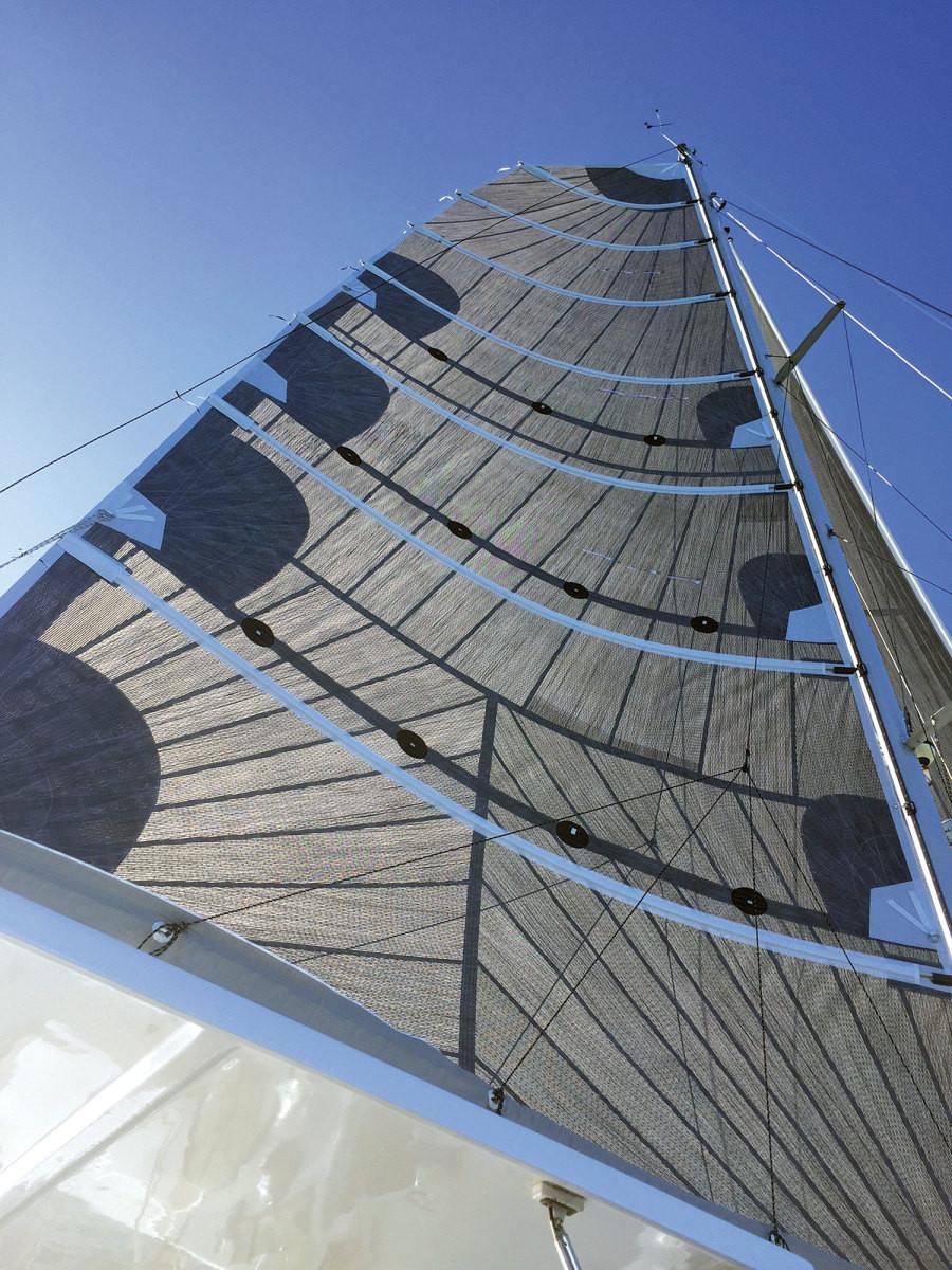 Calvert Sailmakers, multi-hull, black sail