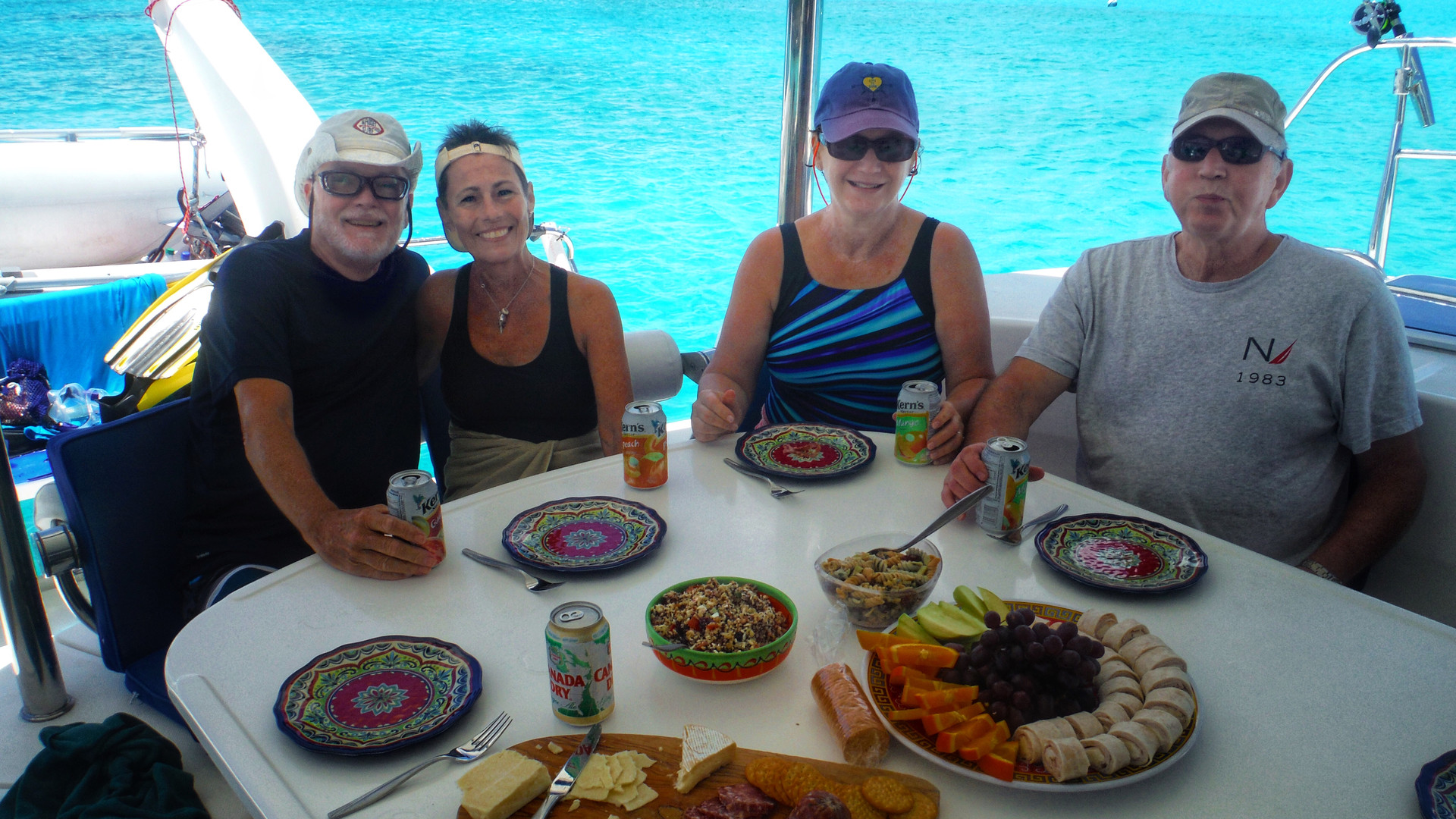 Lunch Cockpit Leopard 46 Bahamas Sailing Catamaran Charters