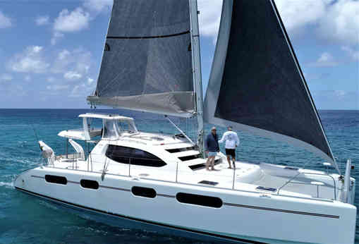 Leopard 46 Side View Sails Up Sailing Bahamas Catamaran Charter