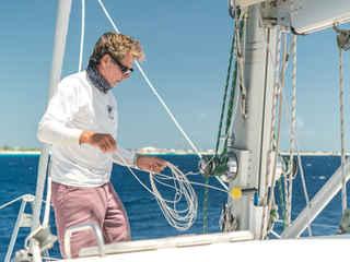 Captain Dave Calvert Boat mast Bahamas Sailing Catamaran Charters