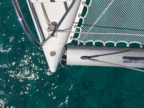 Top view Bow Sailing Bahamas Catamaran Charter