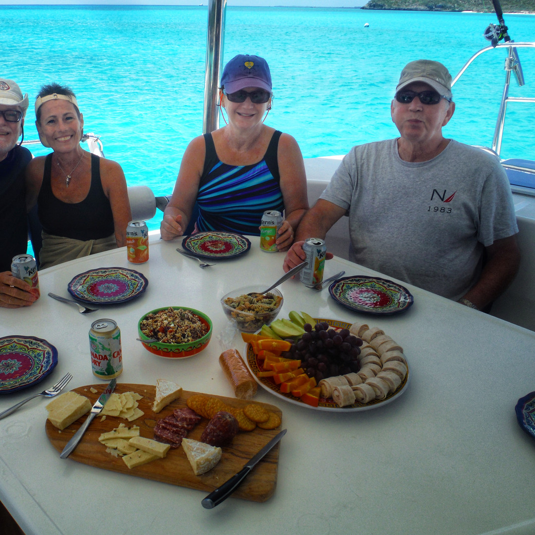 Sitting cockpit Sailing Charter Lunch Spread