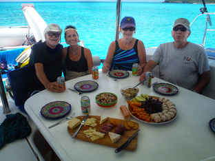 Lunch Spread cockpit Bahamas Sailing Catamaran Charters
