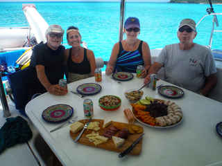 Lunch Spread cockpit Bahamas Sailing Catamaran Charters