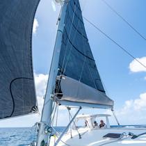Destiny Calvert sails Bahamas Catamaran