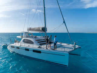 Leopard 46 Anchored Bahamas Sailing Catamaran Charters