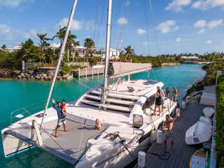 At the dock with family Bahamas Sailing Catamaran Charters