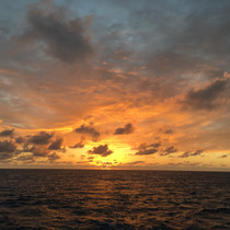 Sunset over sea Bahamas Sailing Charter