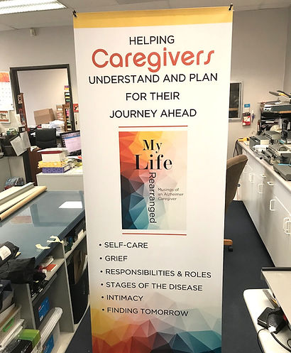 Custom printed stand up banner for My Life Rearranged book