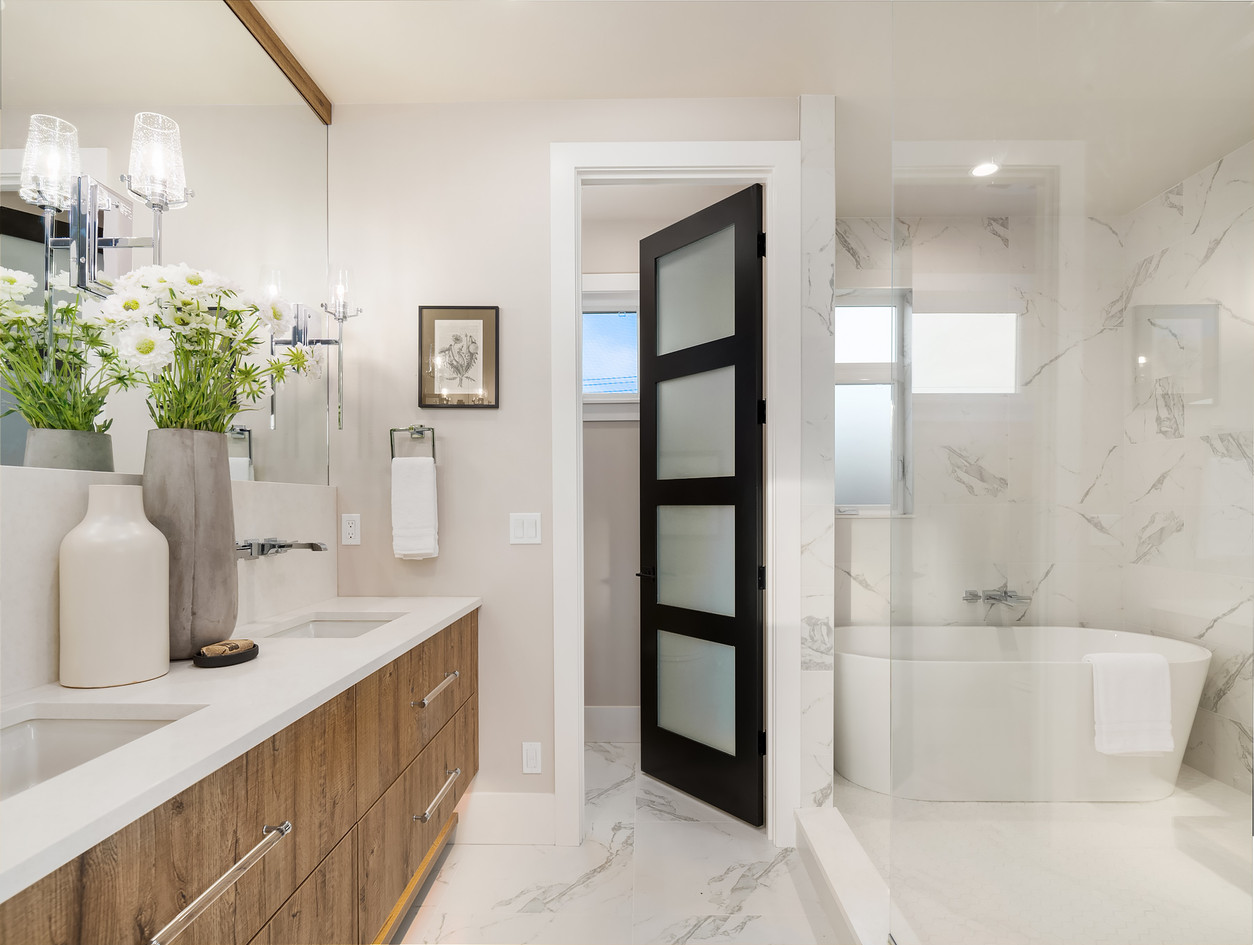 Master bath with wet room tub in shower
