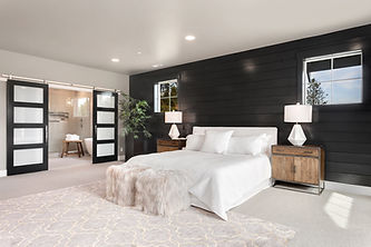 Enfort Homes Kirkland Washington Builder massive mater suite barn doors black shiplap accent wall dark grey paint