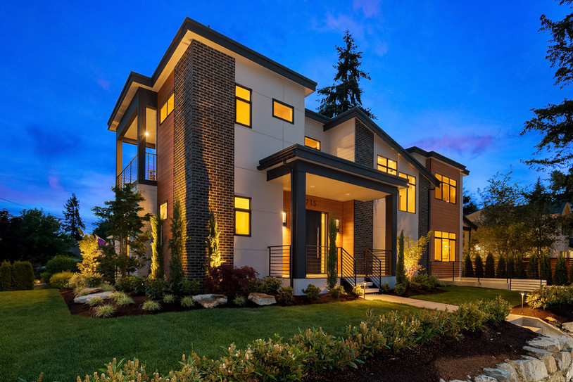 Modern NW home with flat roof and brick