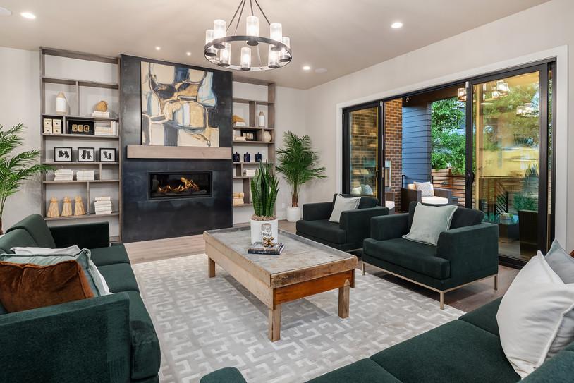 Steel fireplace with modern wood shelvin