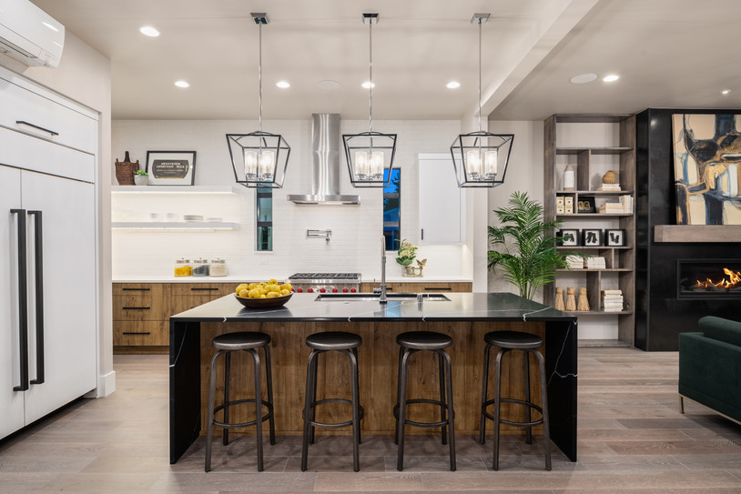 Black marble wood tone kitchen with wate