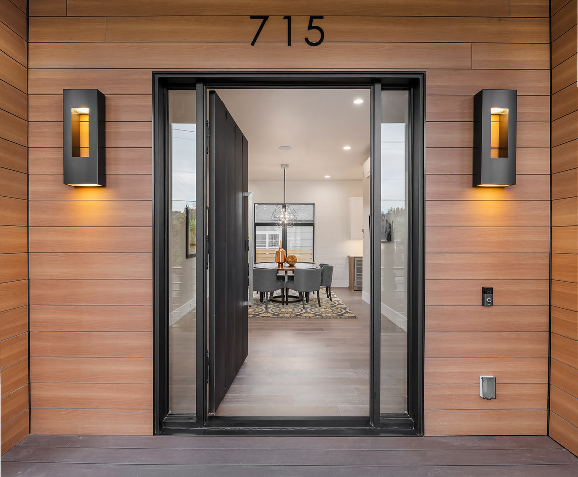 Modern front entry in Pacific Northwest.