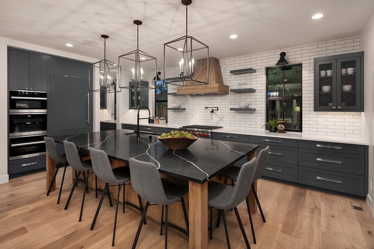 Blue Farmhouse Kitchen with X Island and