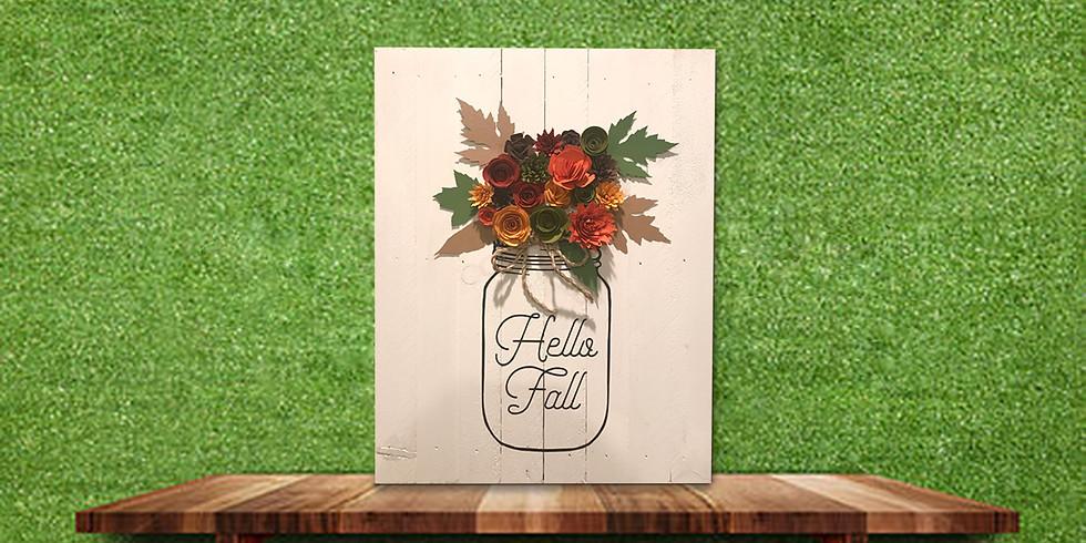 Hello Fall Mason Jar Sign