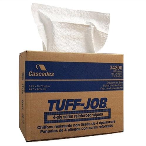 Cascades Tuff-Job Scrim Reinforced Wipers, 4-Ply, Pop-up, White (6 Ct)