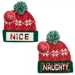 Naughty or Nice Sequin Pom Hat