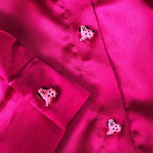 high shine doggie button shirt