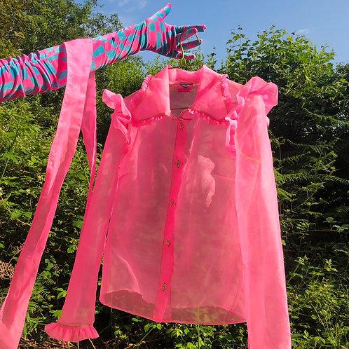 bright pink sheer summer blouse