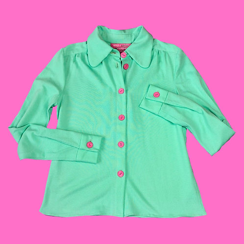 organic teal shirt SMALL