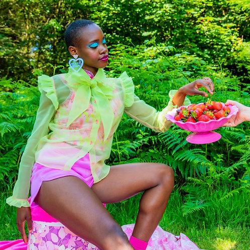 lime sheer summer blouse
