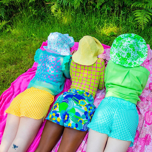 teal gingham shorts