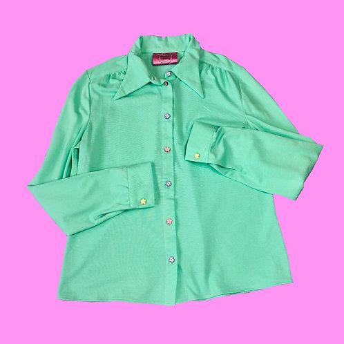 organic teal shirt LARGE