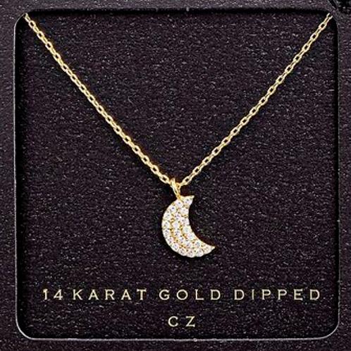 14 Karat Gold Dipped Half Moon Necklace