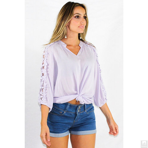 Lavender flora lace v-neck top