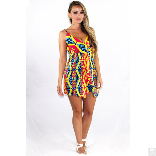 Print dress with a adjustable straps