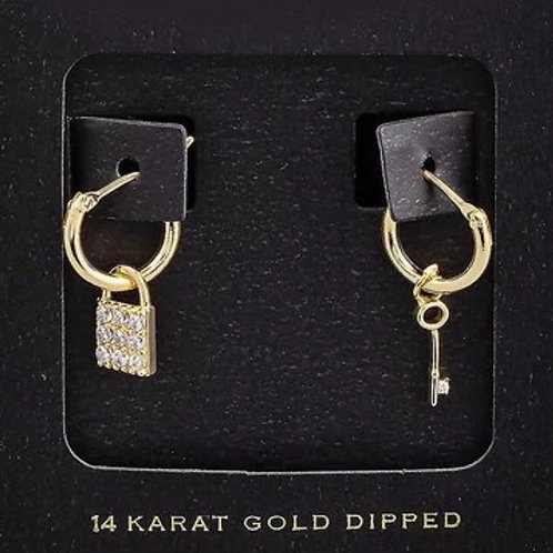 14K Gold Dipped Lock & Key Earrings