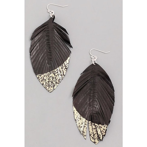Leather Feather Gold Dipped Earrings