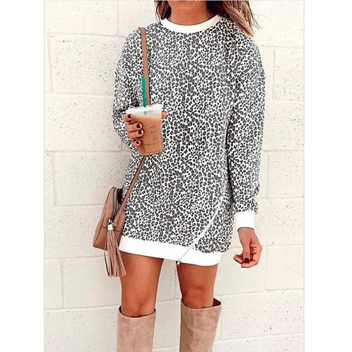 White Leopard Print Dress with Zipper
