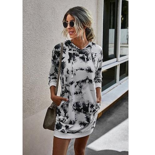 Grey Tie-Dye Hoodie Dress