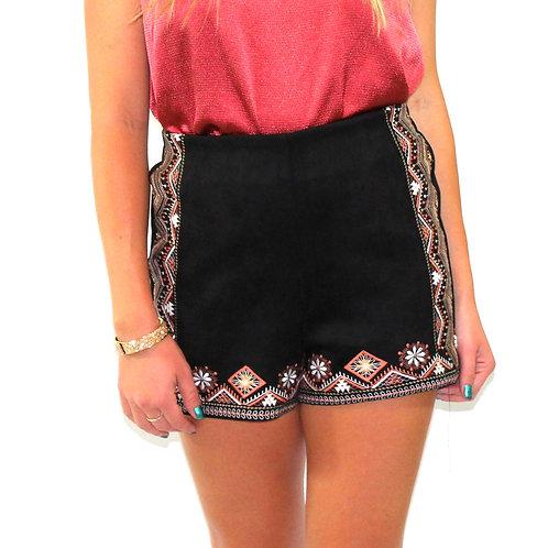Aztec suede shorts