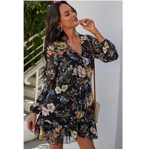 Black Floral V-neck Dress with Sleeves