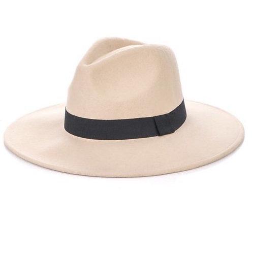 Beige 100% Wool Fedora Hat