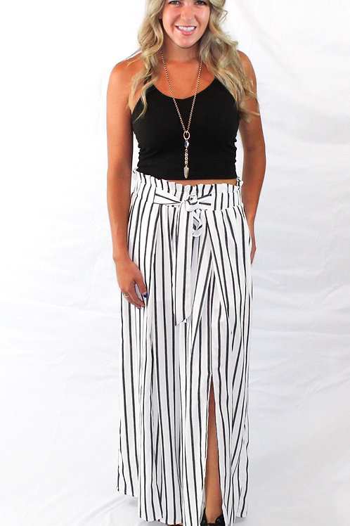 Stripe Print Slit Wide Leg Pants