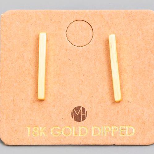 18K Gold Bar Earrings