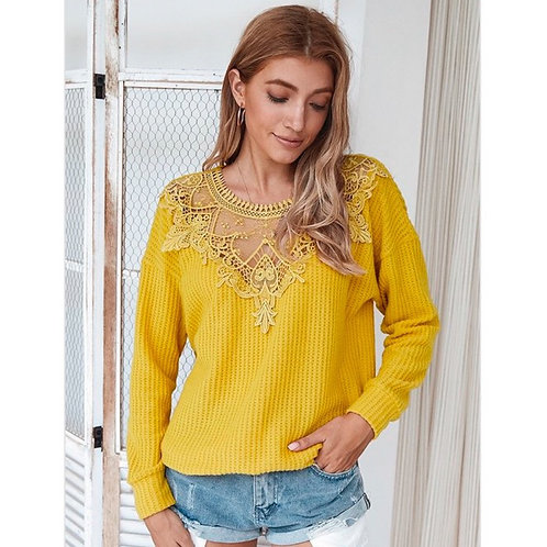 Harmony Yellow Lace Sweater
