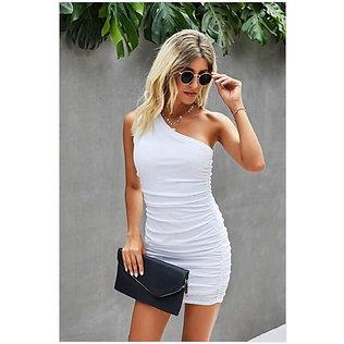 White One-Shoulder Scrunch Dress