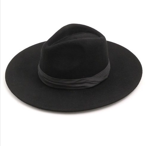Black Fedora 100% Wool