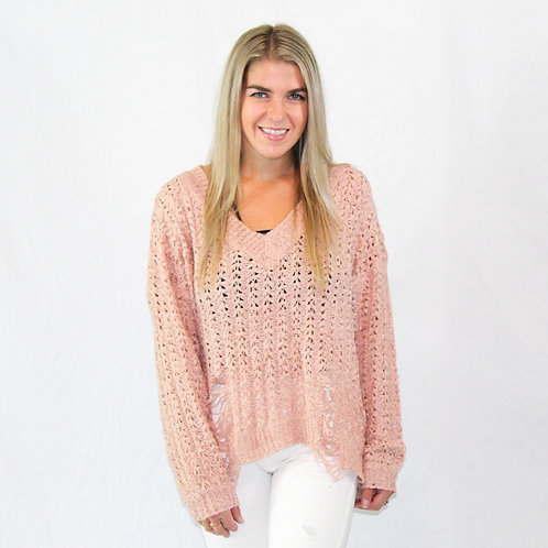 Distressed Rose sweater