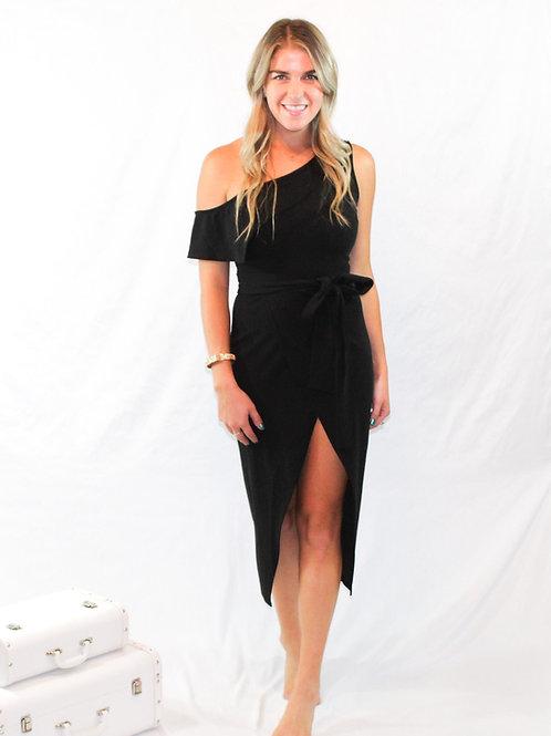Solid Asymmetrical Black Dress