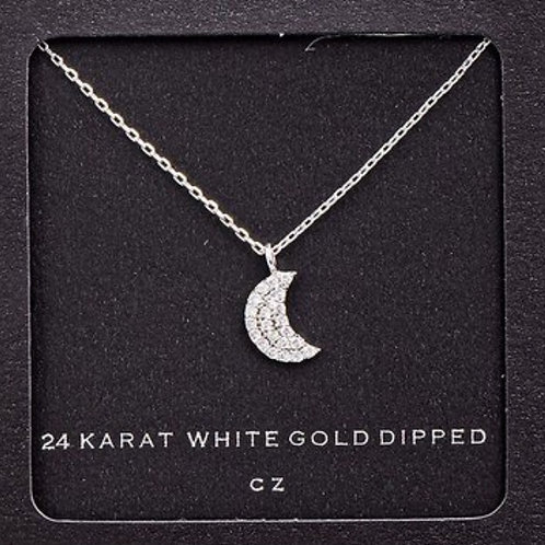 24 K White Gold Crescent Moon Necklace